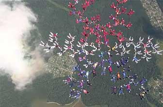 101位美女跳伞创纪录